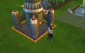 A screenshot from The Sims 4 showing a sim embracing her alien lover near a spaceship.