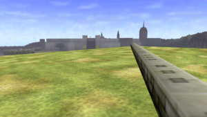 A screenshot of The Legend of Zelda: Ocarina of TIme showing its scale.