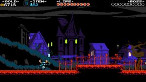 A screenshot of the game Shovel Knight showing The Lich Yard level