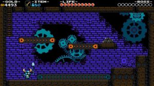 A screenshot of the game Shovel Knight depicting The Clockwork Tower area