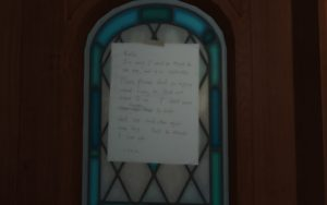 A screenshot from the game Gone Home showing a note from the player character's sister