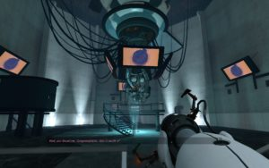 A screenshot of the game Portal, depicting a moment where the AI antagonist of that game taunts the player with pictures of cake.