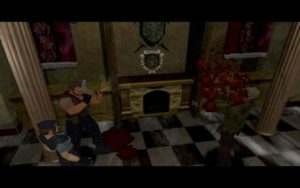 A still image from Resident Evil (1996) showcasing the game's third-person perspective. Non-Player Character Barry Burton dispatches a zombie.