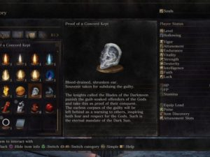 "Dark Souls 3 Item Description for ""Proof of a Concord Kept"""