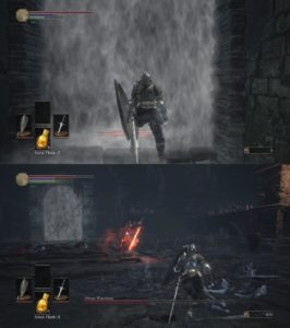 Figure 3: Fog Wall in Dark Souls 3 (Top) and Abyss Watchers Boss Fight (Bottom)