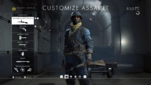 The class customization screen in Battlefield.