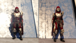 Kings Fall armor set on Male Hunter (Left) and Female Hunter (Right).
