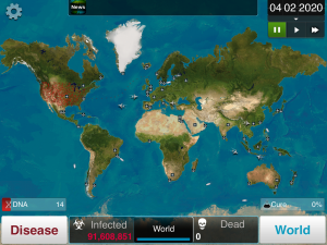 The world map, which shows the overall progress of a player's disease.