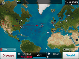 Red airplanes and ships identify moments where the player's disease has spread to another region.