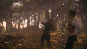 The opening level of the game, where the teenage Amicia is accompanied by her father and Lion (the family dog) as they are exploring in the woods on the hunt. Screenshot taken by author during gameplay.