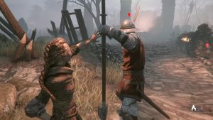 A death scene cinematic playing out after being discovered by a soldier. Here Amicia has been seen and a nearby soldier accosts her. Screenshot taken by author during gameplay.