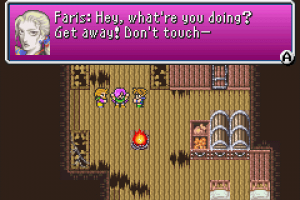 "Game screenshot where Faris' sprite pushes away Galuf and Bartz's. Faris' dialogue reads ""Hey, what're you doing? Get away! Don't touch—"""