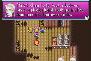 "Screenshot of the game where Faris confuses their gendering. Faris' dialogue reads, ""What I was just a lad—er, lass, a pirate band took me in. I've been on of them ever since."""
