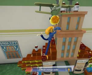 A screenshot of the author playing Octodad: Dadliest Catch. Octodad is climbing a tower of soda cans and bottles to try to reach the bottle of mango soda requested by his family. One of his legs is in the air, another stuck to a case of soda behind him, and both arms stuck in a crate in front of him. The soda bottle is just overhead and out of reach.