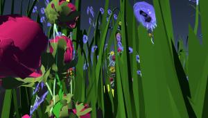Flowers and leaves inside the Kakwitene VR Prototype.