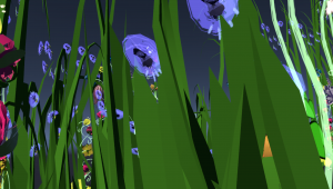 A close-up of a purple flower inside the game, created with Tilt Brush to resemble early-learning level beadwork designs or sketches.