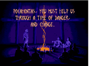 "A shadowy figure speaks to an audience of other natives in the opening of the Pocahontas game. He says, ""Pocahontas, you must help us through a time of danger, and change."""