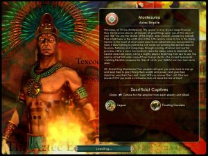 A picture of Aztec leader Montezuma in front of a flame. He wears a ceremonial headdress with peacock feathers and a golden skull and sneers toward the viewer.